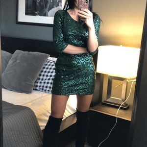 Green sequin Express Dress